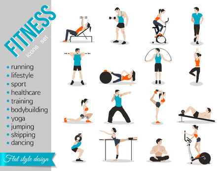 fitness: Formación de los iconos conjunto de infografía deporte y fitness. diseño de estilo plano. Ilustración del vector.