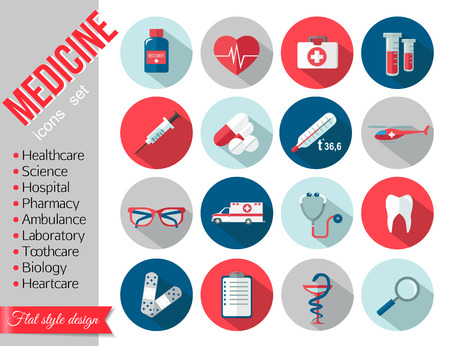 healthcare: Set of medical healthcare flat icons. Vector illustration.