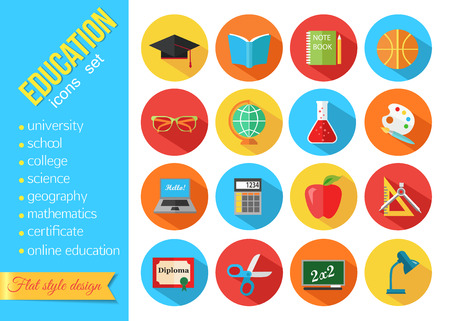 education: Zestaw szkoły płaskiej i zestaw ikon edukacji. ilustracji wektorowych.