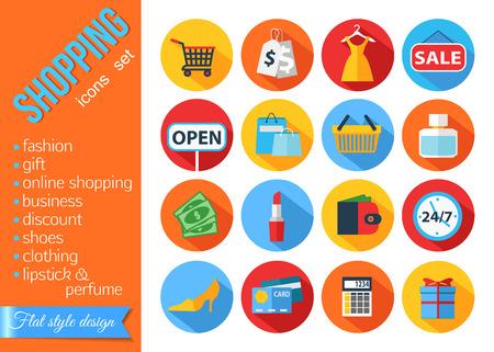 Set of flat shopping icons. Vector illustration.