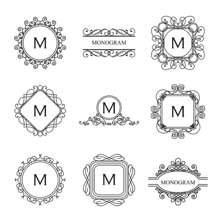 Set of outline monograms and logo design templates. Abstract monograms design elements,emblems and badges. Vector illustration.