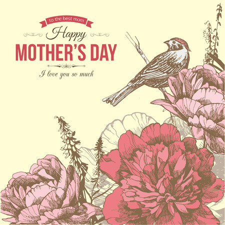 wedding day: Happy Mothers Day Typographical Background With Hand Drawn Flowers and Place for Text.