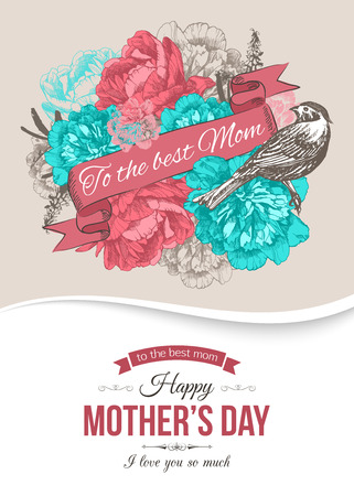 mother day: Happy Mothers Day Typographical Background With Hand Drawn Flowers and Place for Text.