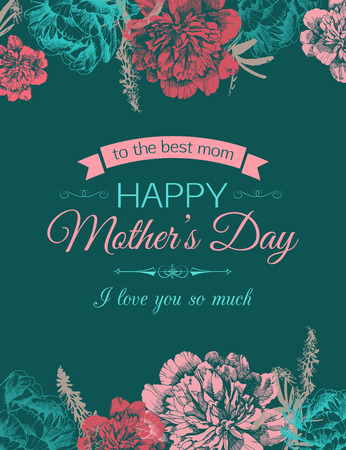Happy Mothers Day Typographical Background With Hand Drawn Flowers and Place for Text. Imagens - 43586756