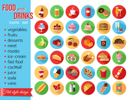 food icons: Set of colorful food and drinks icons. Flat style design isolated icons with long shadow. Vector illustration. Illustration