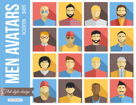 pack: Set of Men Avatars Icons. Colorful Male Faces Icons Set. Flat Style Design. Vector Illustration.