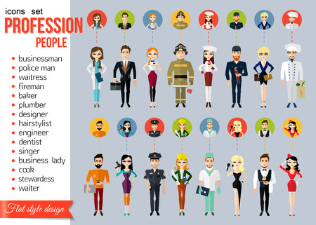 Profession people and avatars collection. Cartoon different characters and different clothes. Doctor, businessman, police man, waitress, fireman, baker, plumber, designer, hairstylist, engineer, dentist, singer, business lady, cook, stewardess, waiter. Fl