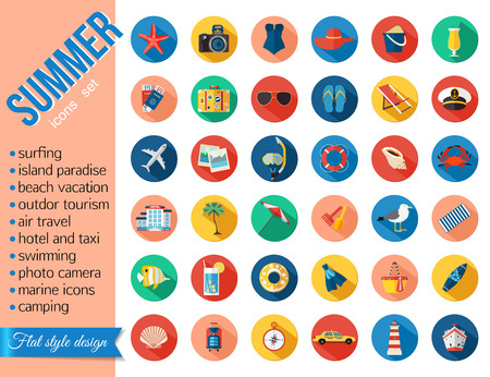 Set of colorful summer vacation, beach, seaside marine icons with long shadows. Flat style design. Vector illustration. Illustration