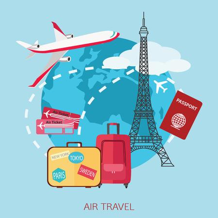 travel background: Air travel background.  Flat style design. Vector illustration.
