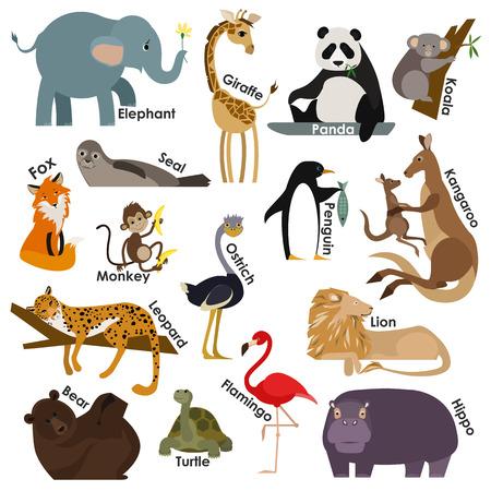 sellos: Conjunto de animales de dibujos animados zoológico. Iconos del diseño del estilo Flat establecen. Ilustración del vector.