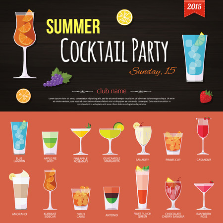 holiday party: Summer cocktail party invitation and set of alcohol cocktails icons. Flat style design. Vector illustration.