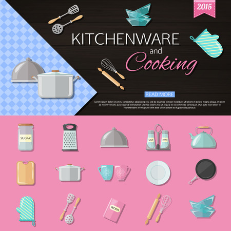 cooking utensils: Kitchenware and cooking background with set of utensils and cooking icons. Flat style design. Vector illustration.
