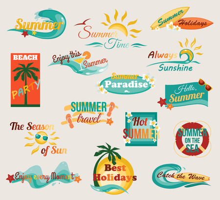 Summer typographical elements for design. Retro calligraphic labels, badges and logo. Vector illustration.