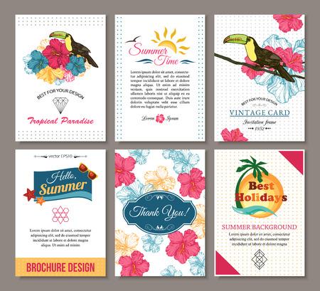 bird of paradise: Conjunto de la mano del verano dibuja tarjetas florales de la vendimia con símbolos triangulares inconformista, logotipo de verano y etiqueta. Mejor diseño creativo para el cartel, cartel, folleto, folleto, presentación con lugar para el texto. Ilustración del vector.