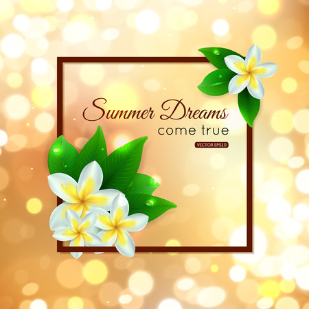 plumeria flower: Shining summer paradise typographical background with blurred bokeh lights, tropical flowers and place for text. Vector illustration.