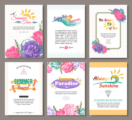 peonies: Set of summer hand drawn floral vintage cards with hipster triangular symbols, summer logo and label. Best creative design for poster, placard, brochure, flyer, presentation with place for text. Vector illustration. Illustration