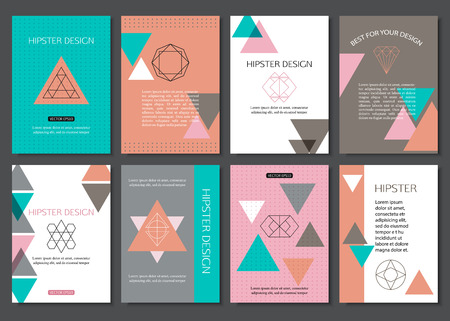 birds of paradise: Set of colorful vintage cards with hipster triangular symbols. Best creative geometric design for poster, placard, brochure, flyer, presentation with place for text. Vector illustration. Illustration