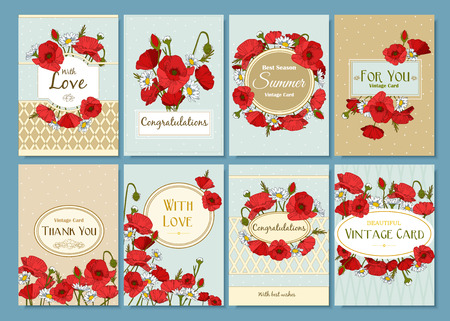 sunrise beach: Set of summer hand drawn floral vintage cards. Best creative design for poster, placard, brochure, flyer, presentation with place for text. Vector illustration.