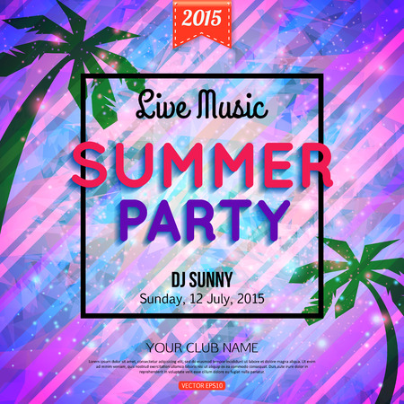 Summer party typographical shining template poster with triangular shapes, palm and frame.  Best creative design for placard, brochure, flyer, presentation, invitation with place for text. Vector illustration. Illustration