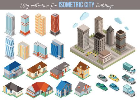 Gran colección de edificios isométricos de la ciudad. Conjunto de coches isométricas 3d, edificios altos y casas iconos privadas para construcción de mapas. Concepto de bienes raíces. Ilustración del vector.