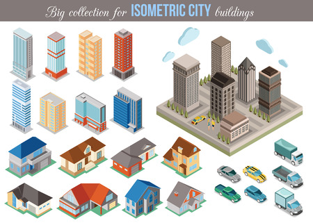 Big collection for isometric city buildings. Set of 3d isometric cars, tall buildings and private houses icons for map building. Real estate concept. Vector illustration. Vettoriali