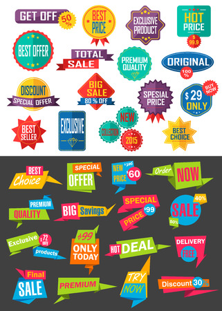 Big collection of Sale and Discount Offers labels, badges and stickers. Vector illustration. Stock Vector - 43639922