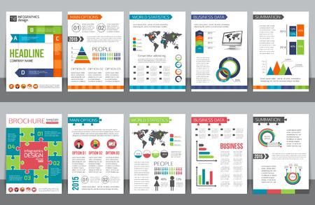 Conjunto de papelería de negocios corporativos plantillas de folletos con infografías elementos. Fondo geométrico abstracto para el aviador, el informe, presentación o diseño de documentos de negocios. Ilustración del vector.