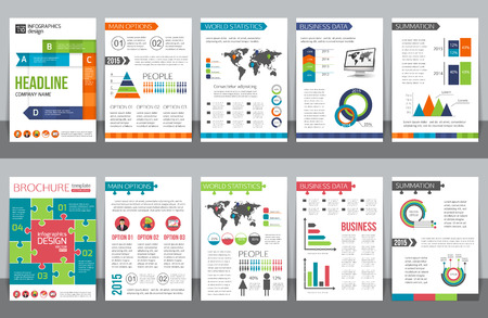 Set van corporate business briefpapier brochure sjablonen met infographics elementen. Abstracte geometrische achtergrond voor flyer, rapport, presentatie of zakelijk document ontwerp. Vector illustratie. Stock Illustratie