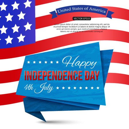 typographical: Happy Independence day of the USA typographical background with paper ribbon and place for text. Vector illustration.
