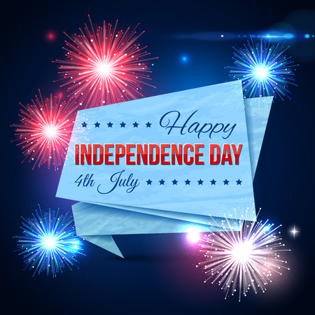 typographical: Independence day of the USA typographical background. Shining fireworks with paper ribbon and place for text. Vector illustration.