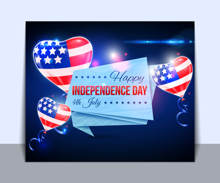 typographical: Independence day of the USA typographical background. Shining balloons and place for text.