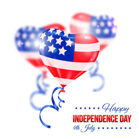 typographical: Independence day of the USA typographical background. Shining realistic balloons and place for text. Illustration