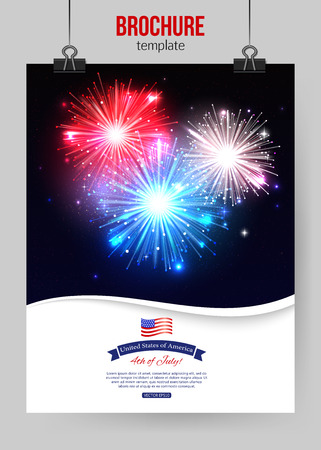 Independence day of the USA typographical background. Shining fireworks place for text. Vector illustration. Illustration