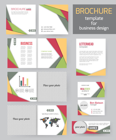graphic design: Set of corporate business stationery brochure templates with infographics elements. Abstract geometric background for flyer, report, presentation or business document modern square design. Vector illustration.
