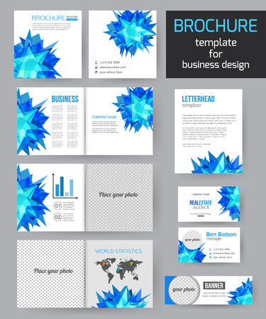 flyer background: Set of corporate business stationery brochure templates with infographics elements. Abstract geometric background for flyer, report, presentation or business document modern square design. Vector illustration.