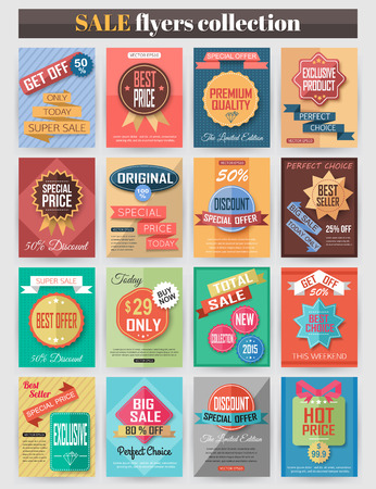 Set mit bunten verkaufen Flyer. Beste kreatives Design zu verkaufen und Rabattaktionen Poster, Plakat, Broschüre, Banner, Präsentation mit Platz für Text. Vektor-Illustration. Vektorgrafik