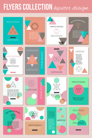 water animal bird card  poster: Set of colorful vintage cards with hipster triangular symbols. Best creative geometric design for poster, placard, brochure, flyer, presentation with place for text. Vector illustration. Illustration
