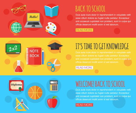 school computer: Back to school and education horizontal banners with computer, open book, desk, globe and other school supplies. Flat design icons set and place for text. Vector illustration.