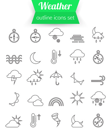 wind: Set of outline weather icons. Sunshine, rain, wind, snow. Vector illustration.