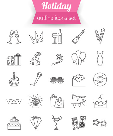 vector set: Set of outline holiday and party icons. Champagne, fireworks, cake, gift box dress. Vector illustration.
