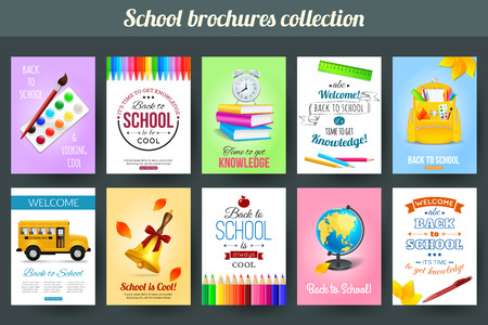 school website: Set of back to school and education typographical card templates . Photorealistic design for poster, placard, brochure, flyer, presentation with rucksack, books, school bus, globe and other school supplies. Vector illustration.
