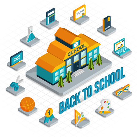 Back to school isometric 3d background with school building and isometric school icons. Flat style design.Vector illustration.