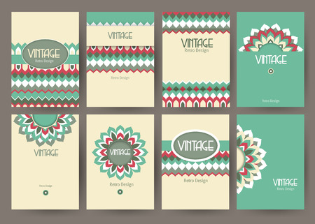Set of creative vintage card templates . Best creative hand made design for poster, placard, brochure, flyer, presentation with place for text. Hipster geometric design for wedding invitation, congratulation, marriage, save the date, birthday. Vector illu Ilustracja