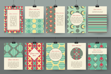Set of creative vintage card templates . Best creative hand made design for poster, placard, brochure, flyer, presentation with place for text. Hipster geometric design for wedding invitation, congratulation, marriage, save the date, birthday. Vector illu Vettoriali