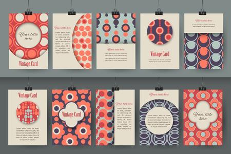 창조적 인 빈티지 카드 템플릿 집합입니다. 가장 창조적 인 손은 텍스트에 대 한 장소 포스터, 플래 카드, 브로셔, 전단지, 프리젠 테이션 디자인을했다 일러스트