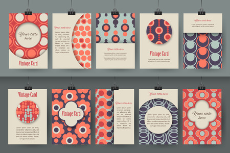 Set of creative vintage card templates . Best creative hand made design for poster, placard, brochure, flyer, presentation with place for text. Hipster geometric design for wedding invitation, congratulation, marriage, save the date, birthday. Vector illu Çizim