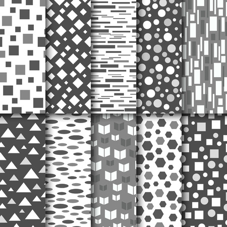 patterns vector: Set of seamless black and white patterns. Geometric style design. Vector illustration. Illustration