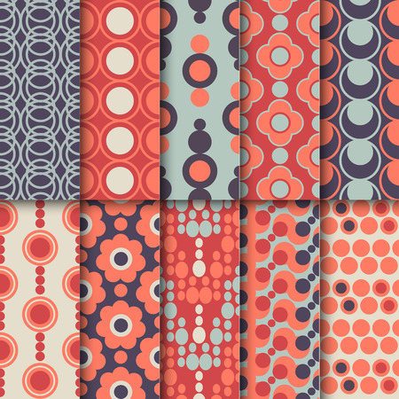 Set of seamless colorful retro patterns with circles. Geometric style design. Vector illustration. Illustration