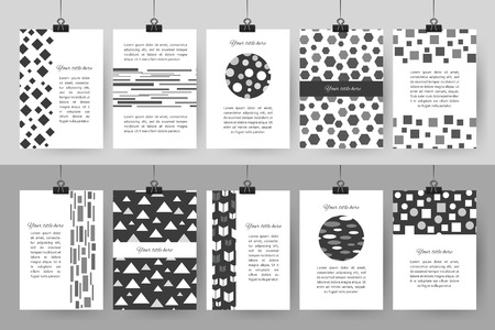 Set of creative black and white vintage cards. Best creative hand made design for poster, placard, brochure, flyer, presentation with place for text. Hipster geometric design for wedding invitation and congratulation. Vector illustration. Ilustração