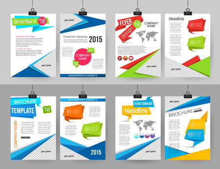 report cover design: Set of corporate business stationery brochure templates with infographics elements and place for photo. Abstract geometric background for flyer, report, presentation or business document with paper banners. Vector illustration. Illustration